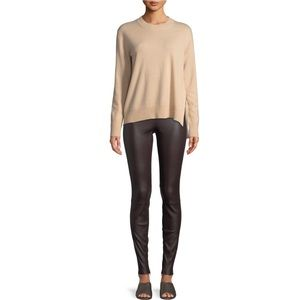 VINCE Ankle-Zip Lamb Leather Leggings Pants SX